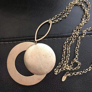 Jewelry - Sheila Fajl burnished gold necklace double pendant